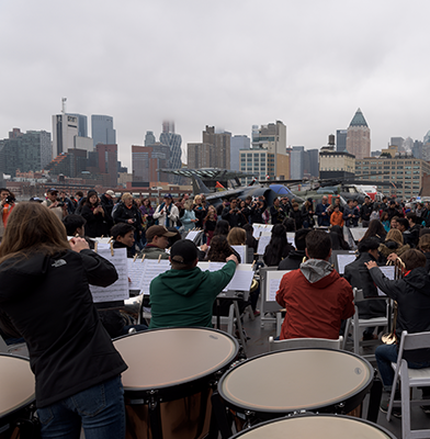 Band on the flight deck