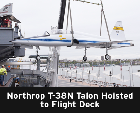 Northrop T-38N Talon Hoisted to Flight Deck