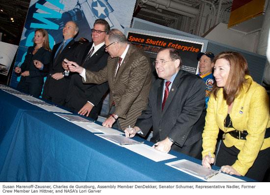Susan Marenoff-Zausner, Charles de Gunzberg, Assembly Member DenDekker, Senator Schumer, Representative Nadler, Former Crew Member Len Hittner, and NASA's Lori Garver