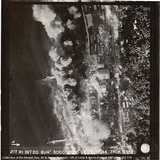 Aerial reconnaissance photograph of the attack on Truk, taken February 16, 1944.