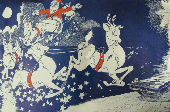 This festive drawing of Santa landing aboard Intrepid appeared in the ship's newspaper in 1954.
