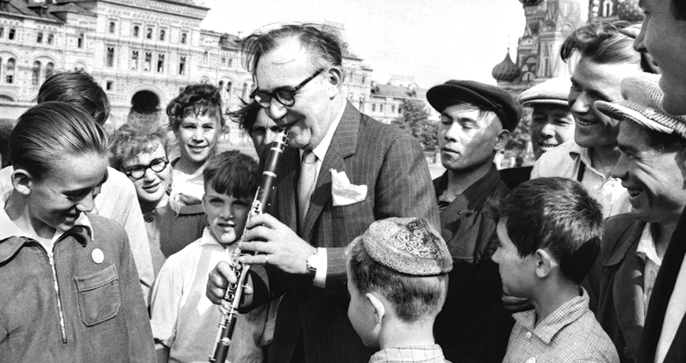 Benny Goodman in Red Square.Benny Goodman performs for a young audience in Red Square, Moscow, Soviet Union, 1962