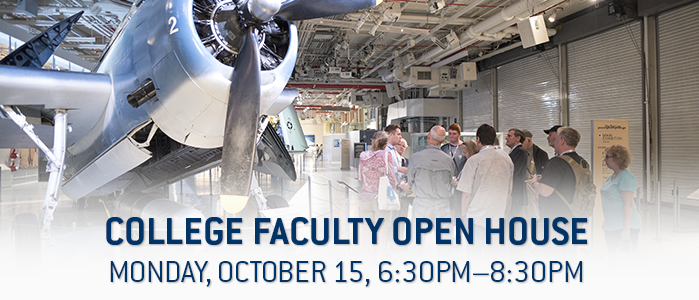 College Faculty Open House, Monday, October 15, 6:30pm to 8:30pm